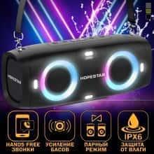 Беспроводная портативная музыкальная блютуз колонка Hopestar А6 Party - Встроенный микрофон и функция громкой связи + мощный сабвуфер с влагозащитой IPX6 - акустическая переносная система - громкое звучание и мощный бас со светомузыкой и ремнем, Black