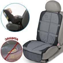 Защитный коврик для автомобильного сидения Bugs под автомобильное кресло предотвратит появление потертостей, царапин и загрязнений – удобный и компактный - Серый