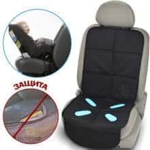 Защитный коврик для автомобильного сидения Bugs Gel под автомобильное кресло предотвратит появление потертостей, царапин и загрязнений – удобный и компактный, Черный