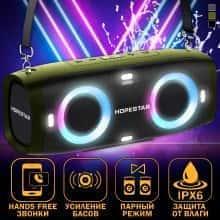 Колонка Hopestar А6 Party музыкальная переносная - громкое звучание и мощный бас со светомузыкой и ремнем - Беспроводная портативная  акустическая система + мощный сабвуфер с влагозащитой IPX6 + встроенный блютуз микрофон и функция громкой связи, Haki