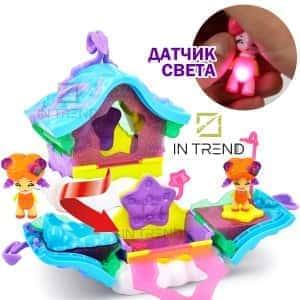 Домик с феей - игровой детский набор для девочек со световыми эффектами светится в темноте - раскладной домик с комнатами и фигуркой феи, Разноцветный