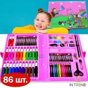 Набор для рисования и творчества Art Set на 86 предметов –  детский набор для творчества в чемоданчике / набор юного жудожника / большой художественный набор для рисования красками фломастерами для детей  ОТ 3 лет для мальчика и девочки, Розовый