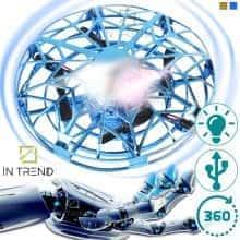 Летающий спиннер JJ 03104 YX - электрическая игрушка летающая тарелка с LED подсветкой  USB портом – вращается в разные стороны на разных скоростях – трюковый для детей от 8 лет, Синий