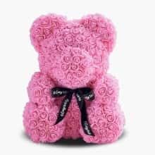 Мишка из роз 3D Bear 25 см Розовый  в красивой подарочной упаковке