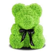 Мишка из роз 3D Bear 40 см Зеленый в красивой подарочной упаковке