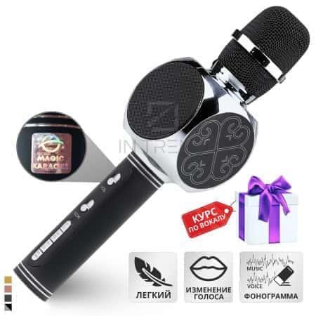 Беспроводной портативный Bluetooth микрофон колонка для караоке 2в1 - Magic Karaoke YS-63 Pro с громким 3Вт звуком мембраной низких частот шумоподавлением – с функцией смены голоса и фонограммы для детей и взрослых в металлическом корпусе Серебро (Silver)
