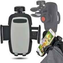 Подставка под смартфон на коляску Bugs – аксессуар для прогулок с малышом – крепление с помощью адаптеров – на все размеры смартфонов, Черный