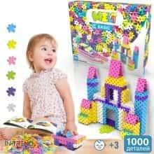 Блочный конструктор для детей Meli Basic Classic 1000 элементов - Детский развивающий игровой пазл - мини головоломка с пластика для творчества и конструирования в коробке Розовый