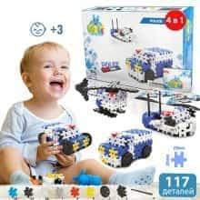 Блочный конструктор для детей Meli Basic 4 в 1 Полиция  - Детский развивающий игровой пазл - мини головоломка с пластика для творчества и конструирования в коробке