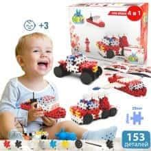 Блочный конструктор для детей Meli Basic 4 в 1 Пожарная команда  - Детский развивающий игровой пазл - мини головоломка с пластика для творчества и конструирования в коробке