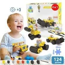 Блочный конструктор для детей Meli Basic 4 в 1 Строительная площадка  - Детский развивающий игровой пазл - мини головоломка с пластика для творчества и конструирования в коробке