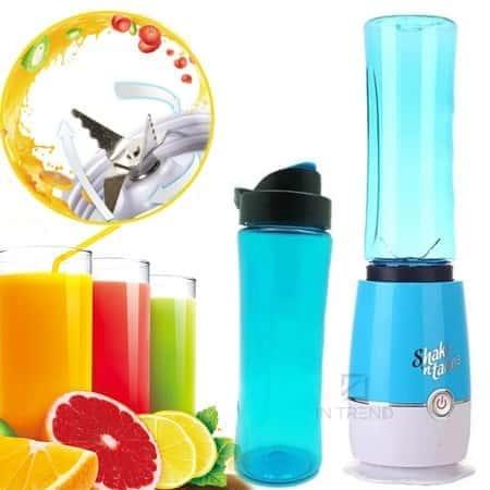 Блендер Shake'n Take компактный и удобный блендер кружка для коктейлей и смузи – функциональный и быстрый для любых смесей – стакан для спортсменов с удобным дозатором - СИНИЙ