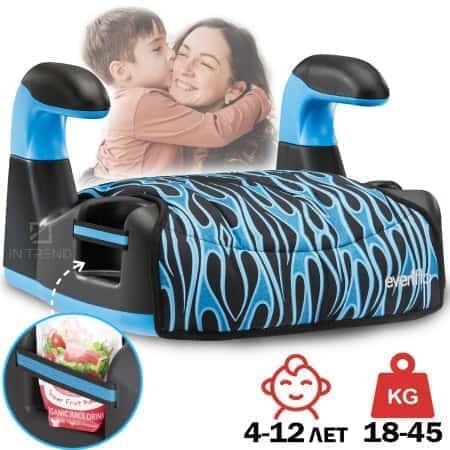 Детский бустер автомобильный Amp Flames в машину для детей от 4 лет – универсальное улучшеное сиденье для детей в машину с комфортным чехлом и фиксацией штатным ремнем безопасности –- от 18 до 45 кг – прочная сидушка для детей, Синий