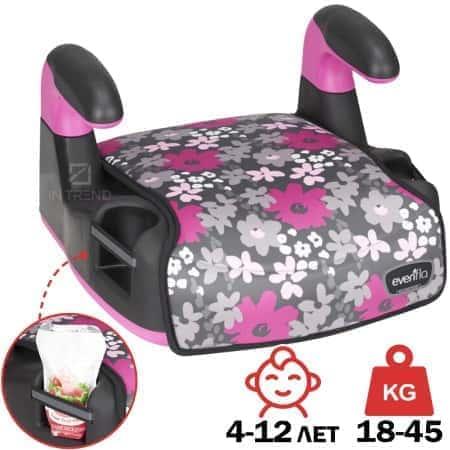 Детский бустер автомобильный Amp Flames в машину для детей от 4 лет – универсальное улучшеное сиденье для детей в машину с комфортным чехлом и фиксацией штатным ремнем безопасности –- от 18 до 45 кг – прочная сидушка для детей Розовый