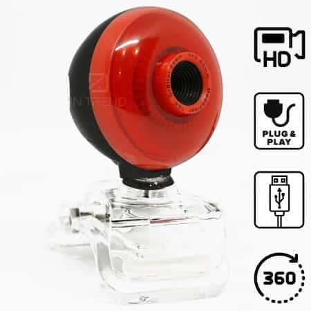 Онлайн USB веб камера для ноутбука или компьютера WEB DL-3C HD 360° аксессуар мини - Вебка для стрима вебинаров и скайпа c ЮСБ шнуром и клипсой + поддержкой Plug&Play на ПК Виндовс шаровая, Красная