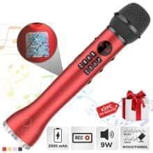 Беспроводной вокальный микрофон для караоке + колонка Bluetooth Magic Karaokе L 598 с динамиком 9Вт, с трехуровневым подавлением шума для чистого звука + эхо – детский или взрослый портативный Red