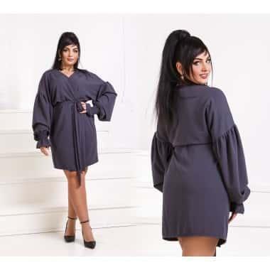 Платье  на запах InTrend  серого цвета р50-52