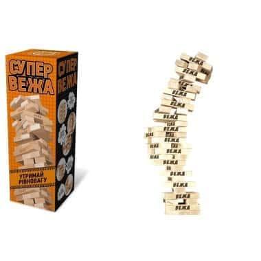Настольная игра Дженга, деревянная башня - Супер башня - InTrend Toys (55408)