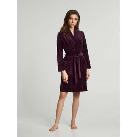 Халат женский фиолетовый велюр ELLEN M (LDG 037/009)