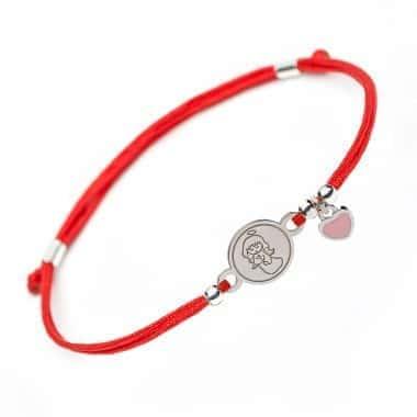Детский Серебряный браслет Family Tree Jewelry на красном шнурке девочка - Ангелок с подвеской сердечко розовая глазурь