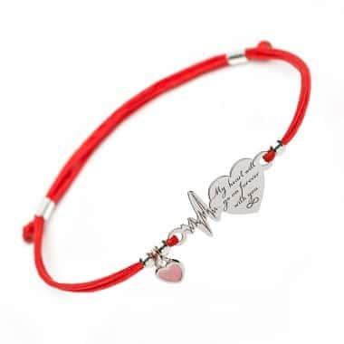 Вдохновляющий Серебряный браслет Family Tree Jewelry на шнурке Ритм Сердца