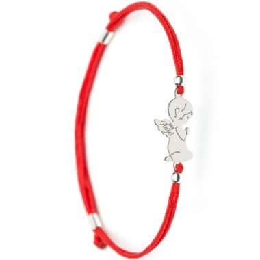 Детский Серебряный браслет Family Tree Jewelry на красном шнурке Ангел