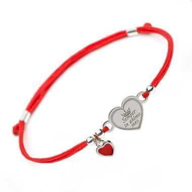 Вдохновляющий Серебряный браслет Family Tree Jewelry на шнурке серце Semper in animo meo