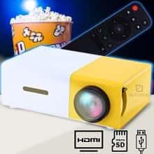 Проектор мультимедийный Проектор LED YG-300 для домашнего кинотеатра Мини портативный кинопроектор и видеопроектор с пультом ДУ - Желтый