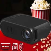 Проектор мультимедийный Проектор LED YG-320 для домашнего кинотеатра Мини портативный кинопроектор и видеопроектор с пультом ДУ, Черный