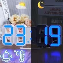 Часы электронные Caixing CX-2218 c будильником и термометром лучшие смарт часы - синяя подсветка  настенные и настольние Белые