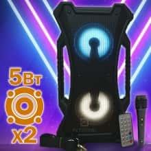 Беспроводная колонка Column 4213 музыкальная портативная USB блютуз с пультом дистанционного управления для улицы и дома - Переносная акустическая система с блютуз LED подсветкой + Bluetooth + micro cd + аккумулятор + вход микрофон, Чёрный
