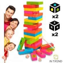Детская игра дженга из деревянных брусков для детей Cartoon Jenga настольная для компании и всей семьи - большая деревянная джанго цветная башня вытаскивать палочки, Разноцветный