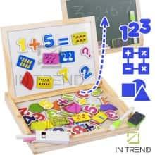 Занимательная игра математика в игровой форме Wooden Plank двухсторонняя доска – набор  деревянная игра для дошкольников - математические настольные развивающие игры для детей 2 -3 класса