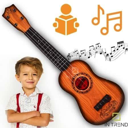 Детская гитара с ремешком для детей Guitar 130A14 акустическая 4 струны – детские игрушечные гитары со струнами для ребенка 6 7 8 9 10 лет в чехле, Коричневая
