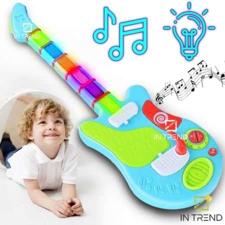 Детская игрушечная гитара для детей Guitar 898-32 на батарейках – детские гитары для ребенка 4 5 6 7 8 9 10 лет - электрогитара игрушка для малышей в коробке, Разноцветный