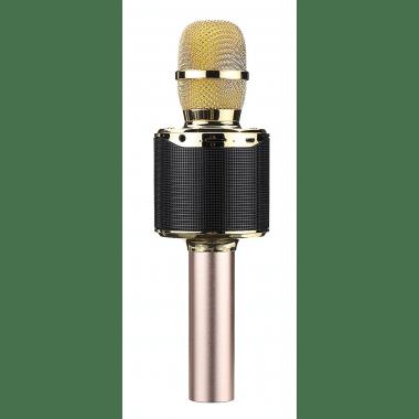 Беспроводной Bluetooth караоке микрофон InTrend K318 с подсветкой Gold