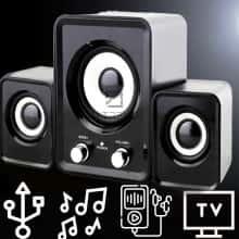Колонки FT-202  громкие компактние и мощные для ПК / компьютера / ноутбука / телевизора / смартфона / MP3 или MP4 плеера – качестверрый звук – акустическая система с mini jack и регулировкой громкости