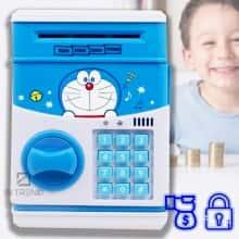 Детская Копилка сейф для детей CARTOON SAVING BOX  игрушечный робот – интерактивная игрушка– электронная копилка  с кодовым замком - надежный способ хранить и копить деньги - лучший подарок для ребенка, Голубой