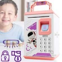 Детская Копилка сейф для детей ROBOT BODYGUARD игрушечный робот – интерактивная игрушка– электронная копилка  со сканером  отпечатка пальца кодовым замком - Ультрафиолет для проверки купюр, Бело-розовая