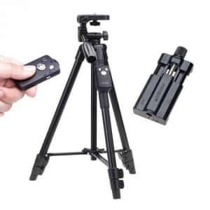 Профессиональный компактный с Bluetooth пультом алюминиевый штатив подставка - тренога с чехлом для гаджетов VCT 5208 Original для телефона фотографов и блогеров - Аксессуар трипод держатель / Крепление под смартфон, экшн - камеры, GoPro, фотоаппарата