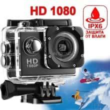 Компактная экшн камера с микрофоном HD1080 Cam A-9 влоговая бюджетная для активного отдыха – Хорошая водонепроницаемая видеокамера с аквабоксом для подводной съемки, влогов – видеорегистратор USB в машину, Чёрная