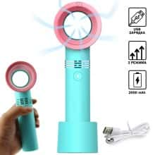 Портативный карманный USB мини-вентилятор ZERQ 9 безлопастный ручной настольный охладитель с 3 режима и подставкой для детей и взрослых, Мятный с розовым