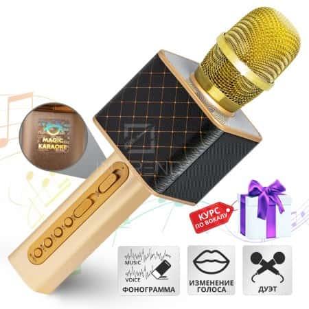 Беспроводной караоке микрофон Original Magic Karaoke YS-10А DUET  + Bluetooth колонка 2в1 - с модулятором голоса + функцией фонограммы + эффектом эхо + возможностью подключить 2 одновременно – динамиками 3Вт + 3Вт и блютуз 10м с дизайном под кожу (Black)