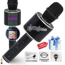 Беспроводной караоке микрофон – блютуз колонка 2в1 Original Magic Karaoke YS-66  - с функцией ЭХО + фонограмма + смена голоса + RGB LED подсветка - детский профессиональный портативный - 10м Bluetooth, 3Вт Динамик с мембраной низких частот для всех Вlack