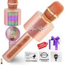 Беспроводной караоке микрофон – блютуз колонка 2в1 Original Magic Karaoke YS-66  - с функцией ЭХО + фонограмма + смена голоса + RGB LED подсветка - детский профессиональный портативный - 10м Bluetooth, 3Вт Динамик с мембраной низких частот для всех Rose