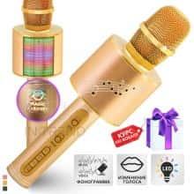 Беспроводной караоке микрофон – блютуз колонка 2в1 Original Magic Karaoke YS-66  - с функцией ЭХО + фонограмма + смена голоса + RGB LED подсветка - детский профессиональный портативный - 10м Bluetooth, 3Вт Динамик с мембраной низких частот для всех Gold