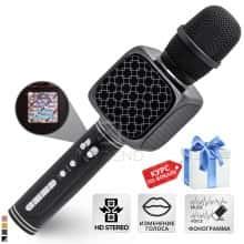 Беспроводной вокальный микрофон для караоке + колонка 2в1 - Bluetooth Magic Karaoke YS-69 с динамиками 3Вт + 3Вт, трехуровневым подавлением шума для чистого звука, функцией создания фонограммы, смены голоса и эхо – детский или взрослый портативный (Black)