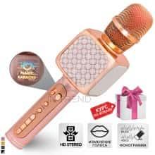 Беспроводной вокальный микрофон для караоке + колонка 2в1 - Bluetooth Magic Karaoke YS-69 с динамиками 3Вт + 3Вт, трехуровневым подавлением шума для чистого звука, функцией создания фонограммы, смены голоса и эхо – детский или взрослый портативный (Rose)