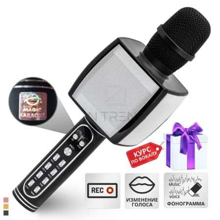 Переносной беспроводной блютуз караоке микрофон колонка Magic Karaoke YS-91 Pro с динамиками 3Вт+3Вт с мембраной низких частот – с функцией изменения голоса фонограммы и эхо – вокальный подарок для детей и взрослых - подключение по юсб Bluetooth (Black)