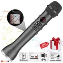 Беспроводной вокальный микрофон для караоке + колонка Bluetooth Magic Karaokе L 598 с динамиком 9Вт, с трехуровневым подавлением шума для чистого звука + эхо – детский или взрослый портативный Black